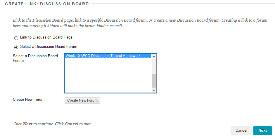 Create link: Discussion board page with a discussion board selected.