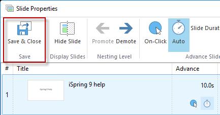 screenshot of Save & Close button