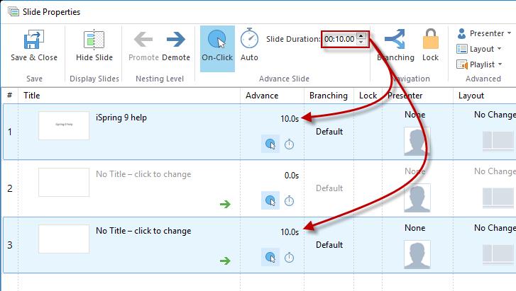 Screenshot showing the slide duration button