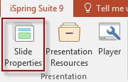 Screenshot of Slide Properties button