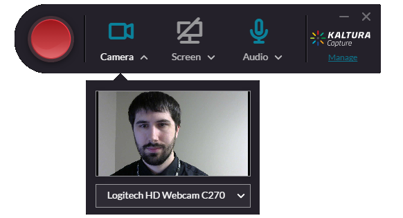 Kaltura recording preview for a video with one input. The selected input is webcam.