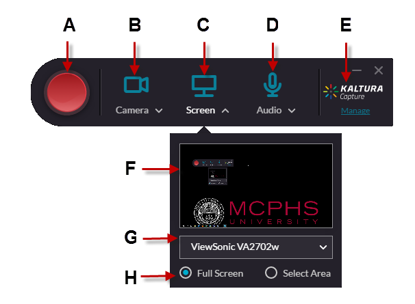 Kaltura Capture Interface. Arrows point to the corresponding interface elements found in the table below.