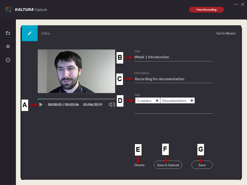Screenshot of the Kaltura Capture Entry page for a recording with one video source.