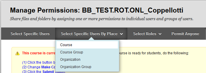 Screenshot of step 3: select specific users by place > course