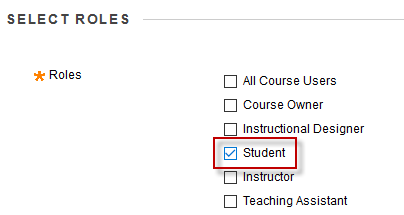 screenshot of step 5: select role of student > submit