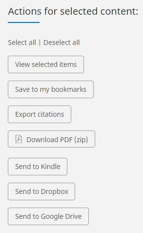 actions available for multiple selected items