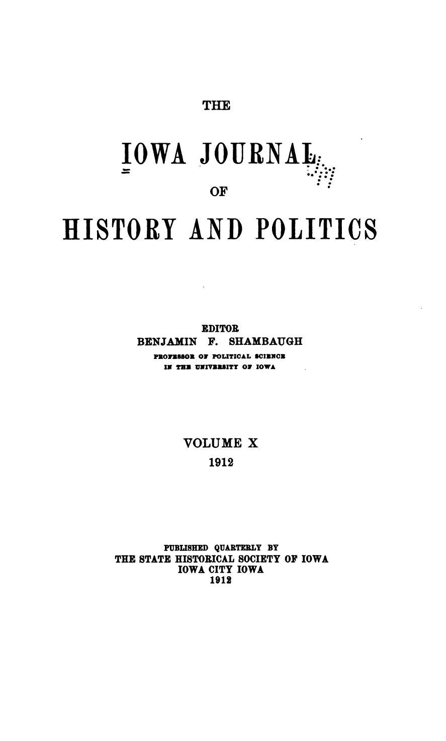 Iowa Journal of History & Politics
