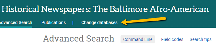 """In the Proquest interface, an arrow points to the """"change databases"""" button"""