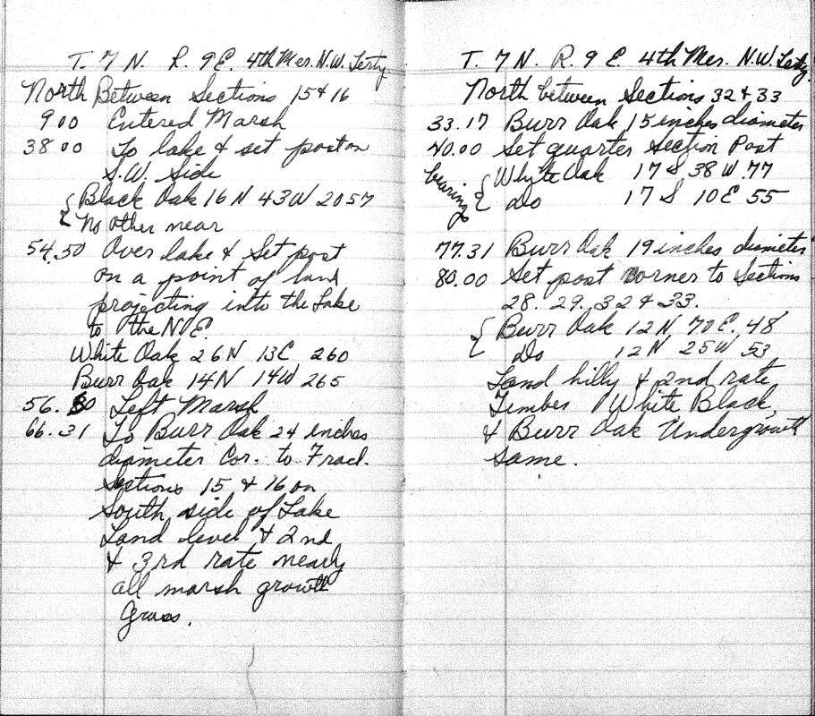 Handwritten notes about observations of the landscape in Township 9 North, Range 7 East (Picnic Point) in 1834