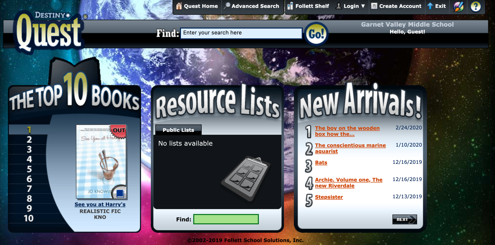 Destiny Quest homepage #