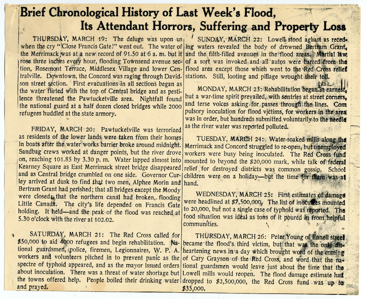 old newspaper clipping describing flood