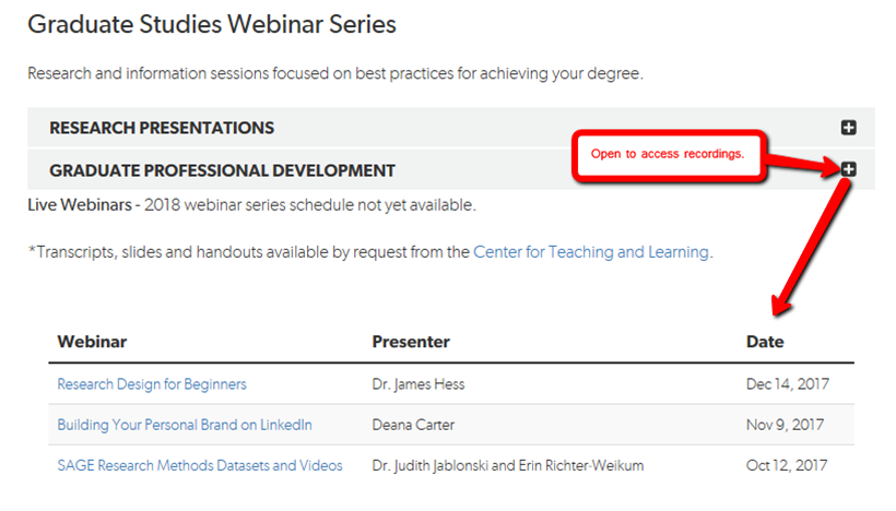Graduate Studies Webinar Links