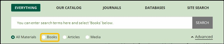 """Screenshot of the Libraries simple search, with the """"books"""" selection highlighted"""