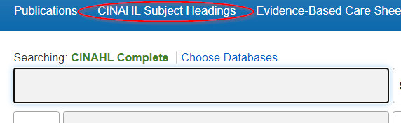 Screenshot showing location of CINAHL Subject Headings on CINAHL's main page