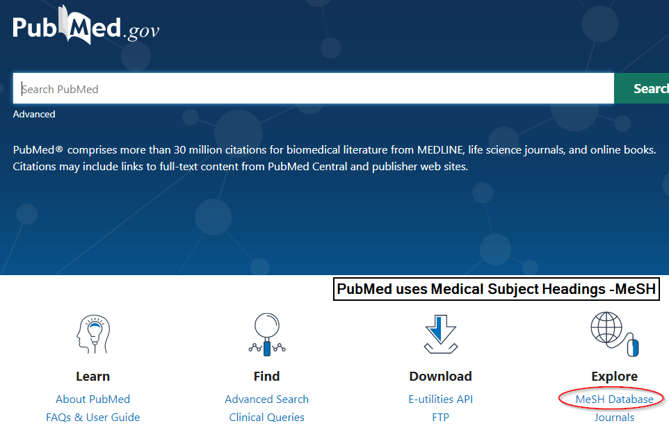screenshot showing the location of MeSH on PubMed.gov