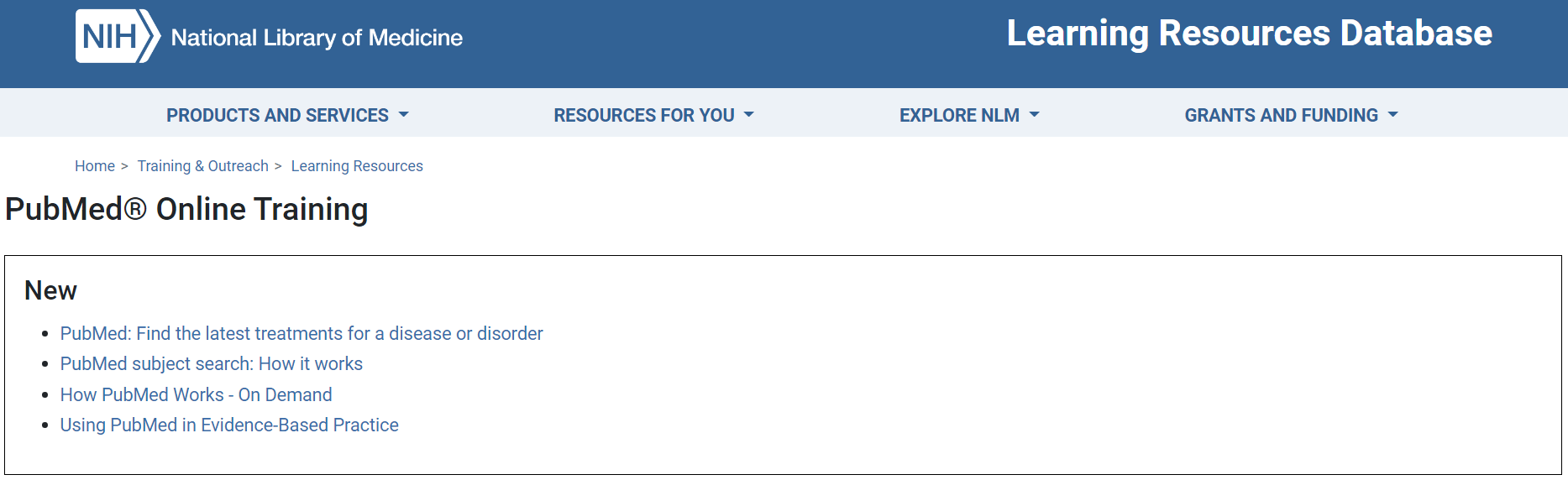 Screenshot of PubMed Training website