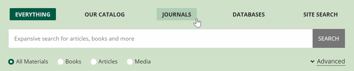Screenshot of Libraries' homepage search box indicating where to click to search specifically for journals.