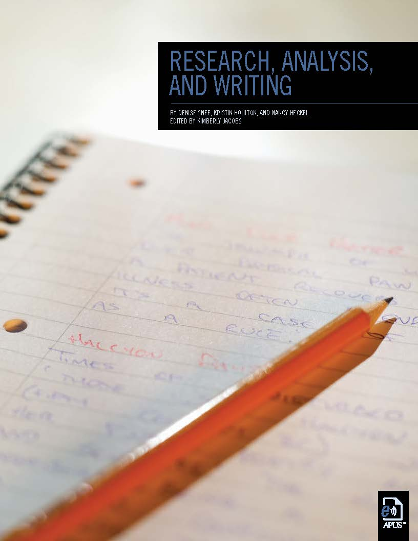 The cover of Research, Analysis, and Writing features a notepad and pencil.