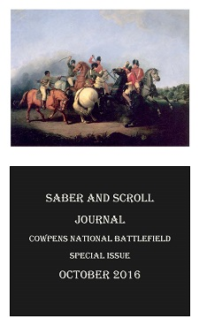 The cover of v. 5, iss. 3 of Saber and Scroll features the painting use The Battle of Cowpens by William Tylee Ranney. Six men sit atop horses, five of whom battle with swords and one with a pistol.