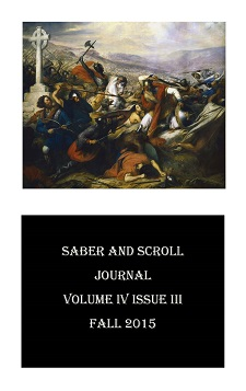 "The cover of v. 4, iss. 3 of Saber and Scroll features the painting ""Battle of Poitiers"" by Charles de Steuben."