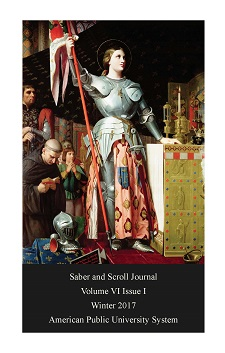The cover of v. 6, iss. 1 of Saber and Scroll features the Joan at the coronation of Charles VII by Jean Auguest Dominique Ingres, c. 1854. Joan of Arc wears a suit of armor and holds a flag above her head.