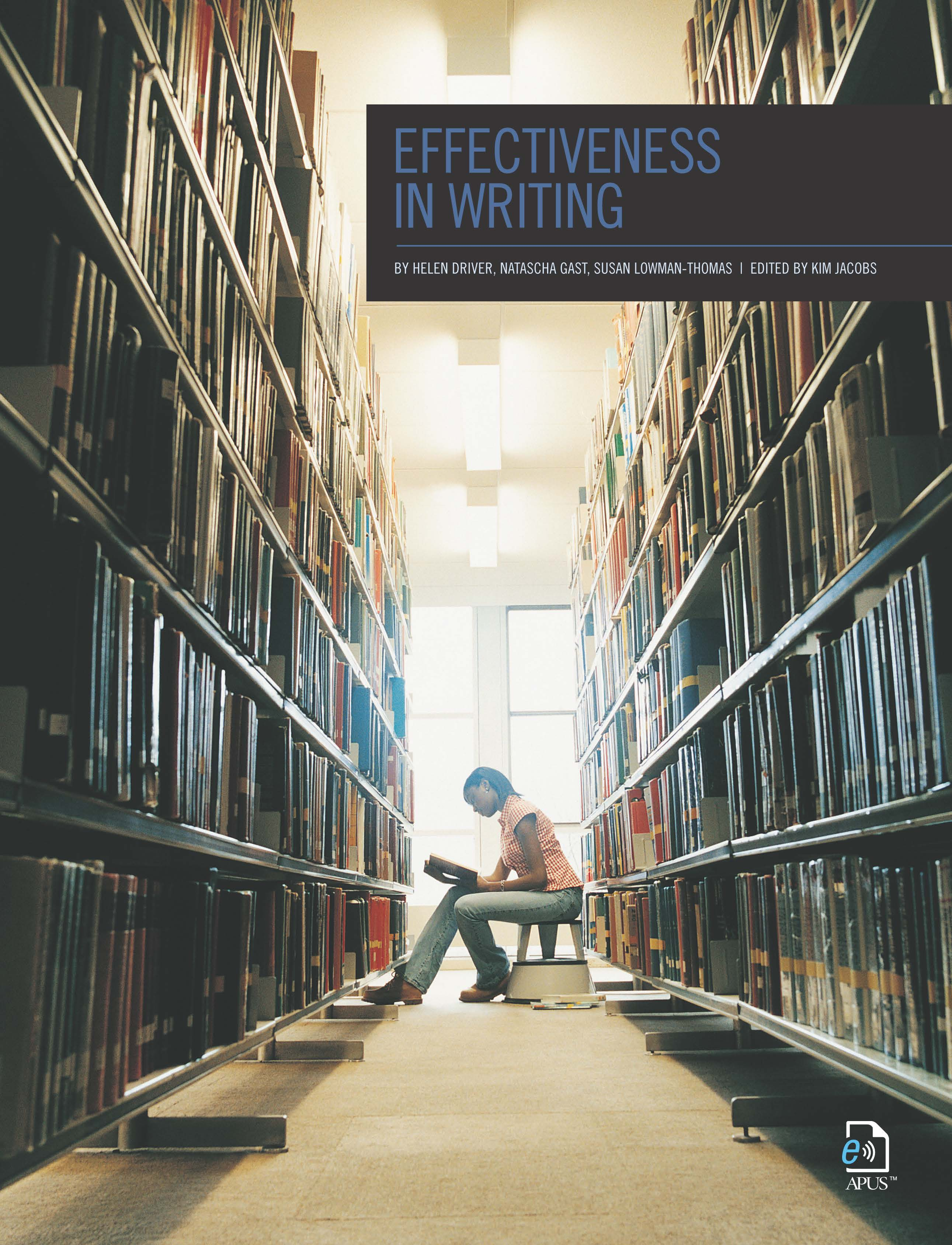 The cover of Effectiveness in Writing features a student between two library shelves, reading a book.