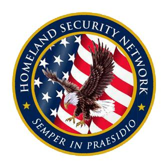 "The logo for the Homeland Security Network features a bald eagle flying in front of an American flag and the network's motto ""Semper in Praesidio."""