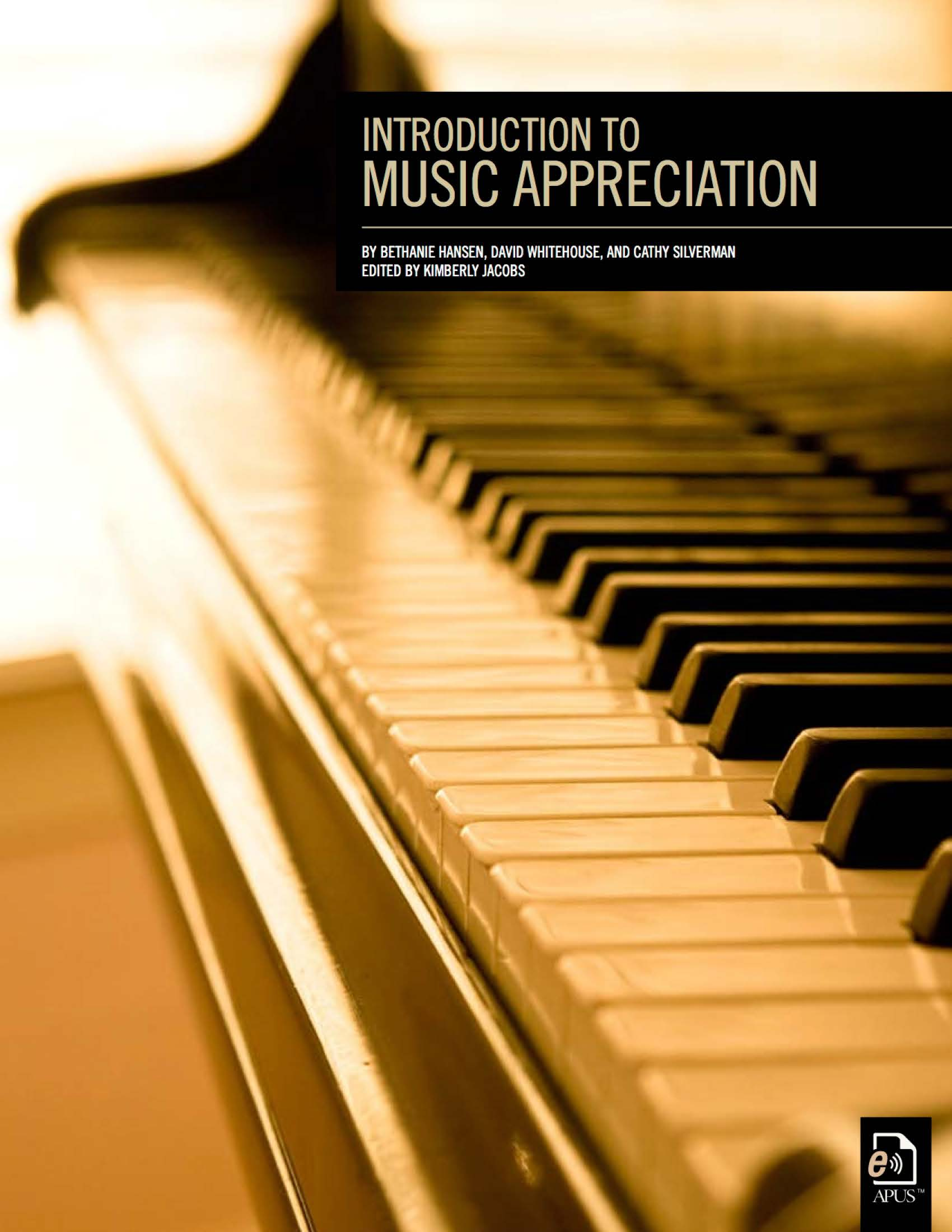 The cover of Introduction to Music Appreciation features a sepia-toned photo of a piano keyboard.