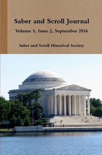 The cover of v. 5, iss. 2 of Saber and Scroll features the a photograph of the Thomas Jefferson Memorial in Washington, D.C.