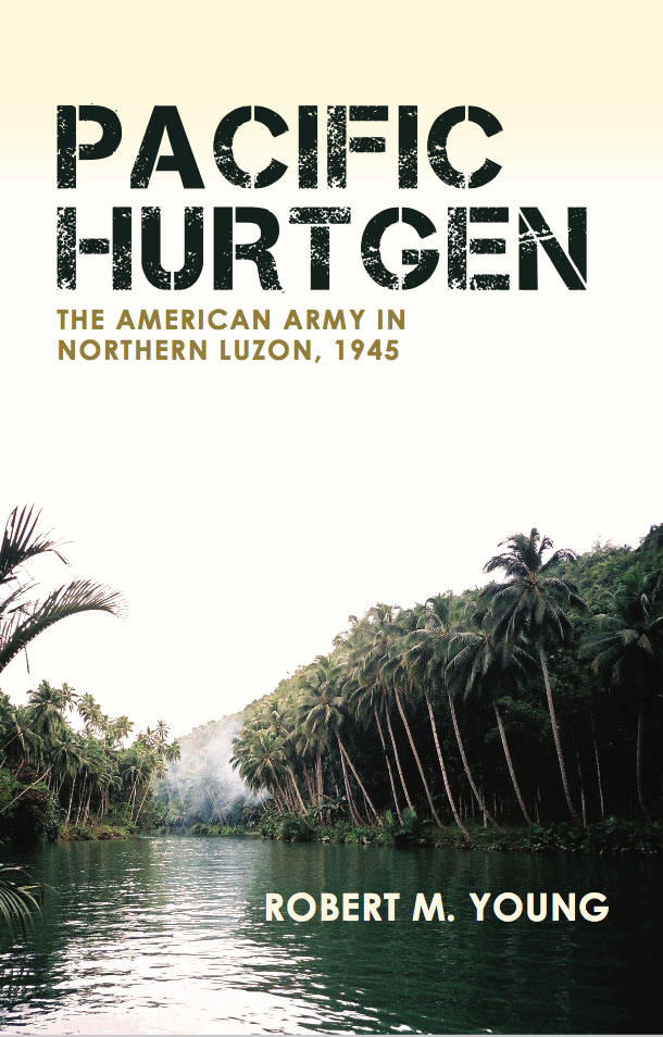 The cover of Pacific Hurtgen features a river flowing through a jungle setting with a green mountain behind.