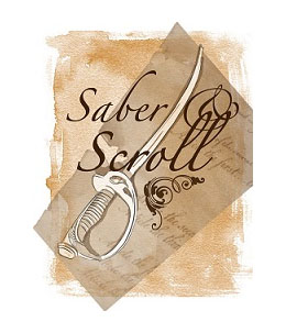 "The logo for Saber and Scroll journal has a sword and the words ""Saber & Scroll."""