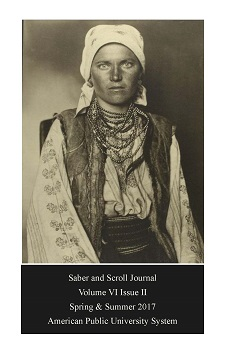 The cover of v. 6, iss. 1 of Saber and Scroll features Augustus Sherman's photograph of a Rhuthenian woman taken at Ellis Island. The subject wears a head scarf, a bead necklace, and traditional clothing including a floral blouse, vest, and wide belt.