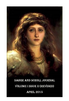 "The cover image of v. 1, iss. 2 of Saber and Scroll is Sir Frank Dicksee's ""Portrait of a Lady."" A woman looks at the viewer with long wavy brown hair, wearing a necklace and tiara."