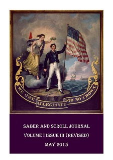 "The cover image of v. 1, iss. 3 of Saber and Scroll is John Archibald's painting ""We Owe Allegiance to No Crown."" A man stands with an American flag while Lady Liberty, standing on a cloud, holds a crown over his head."