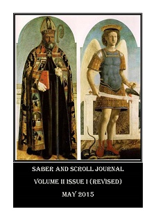 The cover of v. 2, iss. 1 of Saber and Scroll journal features the paintings St. Augustine and St. Michael the Archangel, by Piero della Francesca, two sections of the Polyptych of St. Augustine (1460-1470).