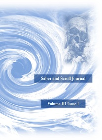 The cover image of v. 3, iss. 1 of Saber and Scroll featuresblue whirlpool with a distorted skull being pulled into it.