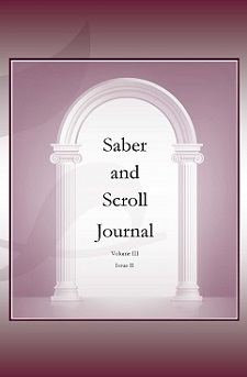The cover image of v. 3, iss. 2 of Saber and Scroll features the title of the journal under a white archway on a rose-colored background.