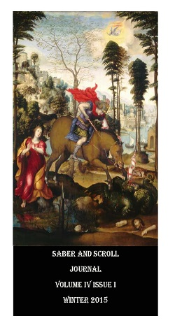 The cover image of v.4, iss. 1 of Saber and Scroll is Sodoma's painting St. George and the Dragon. St. George slays the dragon from atop his steed.