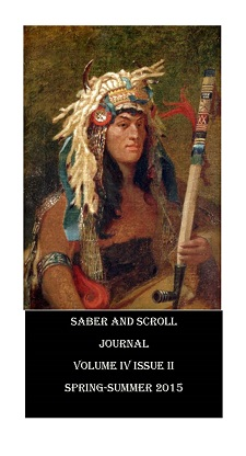 The cover image of v.4, iss. 2 of Saber and Scroll Historical Journal features Francis Blackwell Mayer's painting Crow at the Treaty of the Traverse des Sioux. A Native American in traditional headdress holds a long pipe.