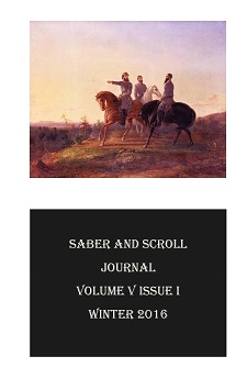 "The cover of v. 5, iss. 1 of Saber and Scroll features the painting ""The Heroes of the Valley,"" by John Elder."