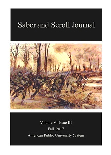 Volume 6, Issue 3 of Saber and Scroll features the painting Hell Fighters from Harlem by H. Charles McBarron. A regiment of African-American soldiers are shown in battle during the Meuse-Argonne offensive, running through wintry woods.
