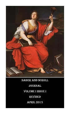 The cover image of v.1, iss. 1 of Saber and Scroll is Pierre Mignard's painting of Clio. She sits in a chair, holding a scepter, surrounded by her books.