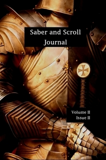 THe cover of v. 2, iss. 2 of Saber and Scroll features a suit of armor with a sword in its grasp.