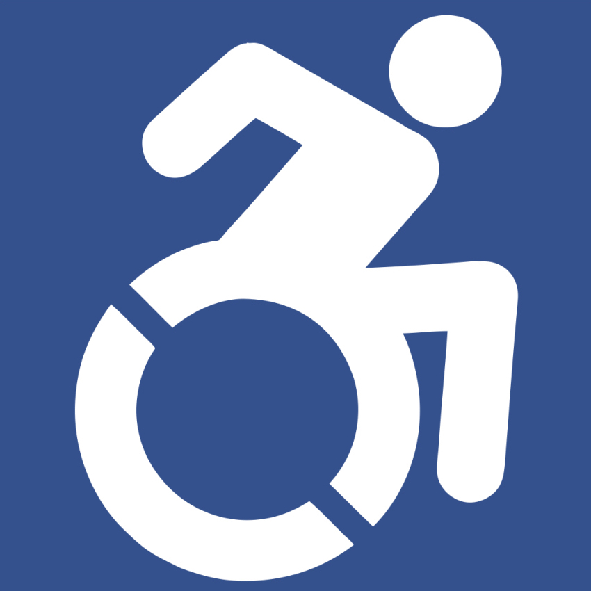 A white icon on a blue background with an outline of a person in a wheelchair. It denotes accessibility.
