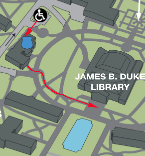 Red arrows showing a path from the handicapped accessible parking at Hipp Hall to the Duke Library