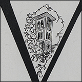 A stylized ink drawing of the Furman belltower surrounded by flowers