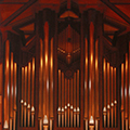 Close-up of a church organ