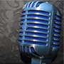 A microphone on a gray background