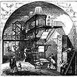 Woodcut of a 1800s newspaper press