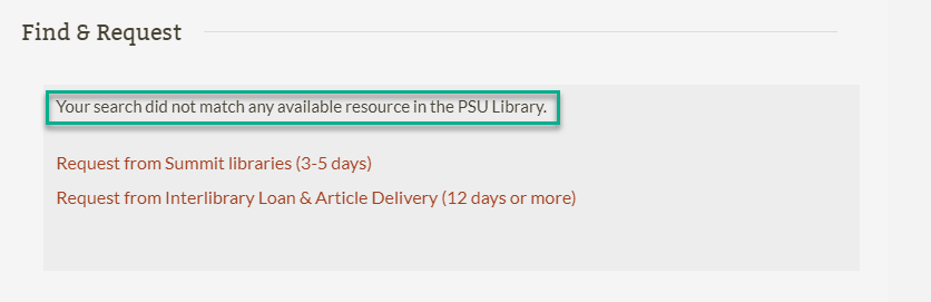 Find and Request option for resources that are unavailable at P S U